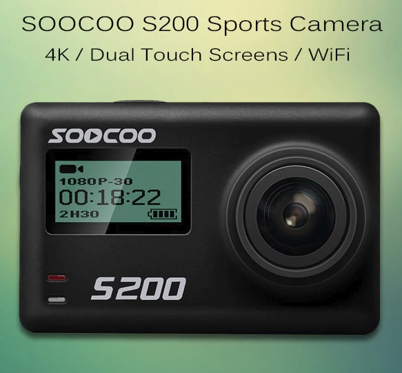 Gearbest SOOCOO S200 4K Sports Camera Dual Touch Screens WiFi